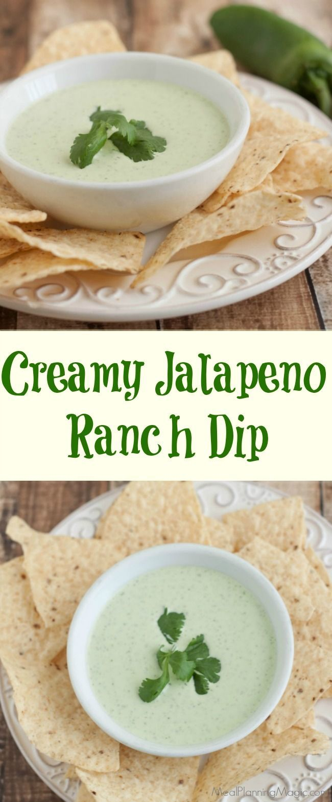 This Creamy Jalapeno Ranch Dip is super simple to blend up and a HUGE hit with everyone. You may want to make a double batch! Recipe at http://MealPlanningMagic.com http://www.mealplanningmagic.com/creamy-jalapeno-ranch-dip/