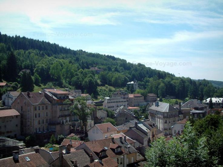 Plombières-les-Bains: Houses of the hydropathic city (resort) surrounded by trees - France-Voyage.com