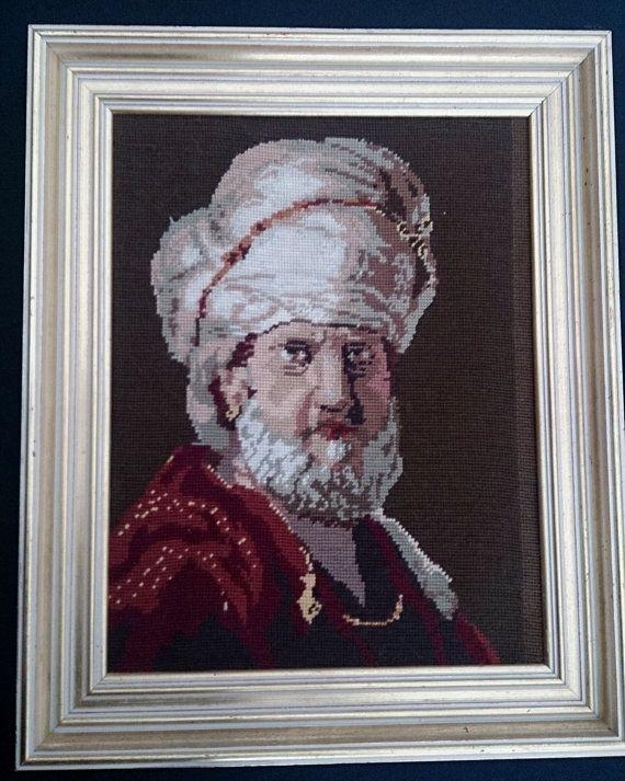 Framed Vintage Tapestry Picture. Framed Gobelin Portrait of Man ROP0041