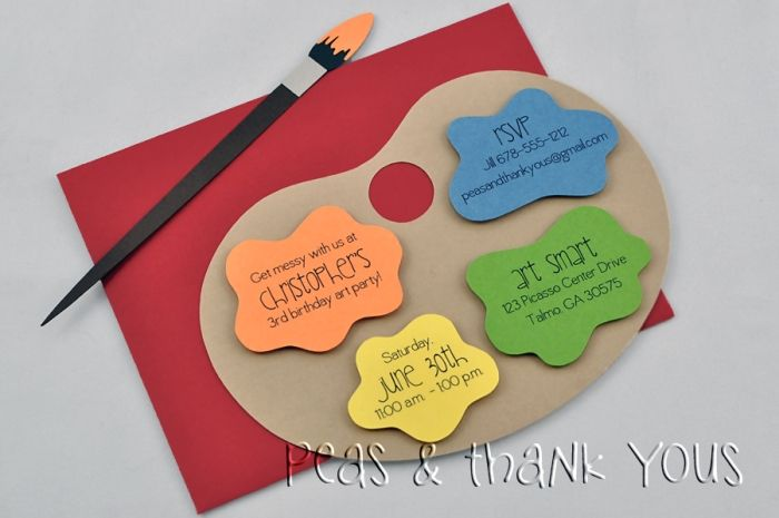 Handmade Art Party Painting Palette Birthday Invitation. Cute also for Ceramic painting party.