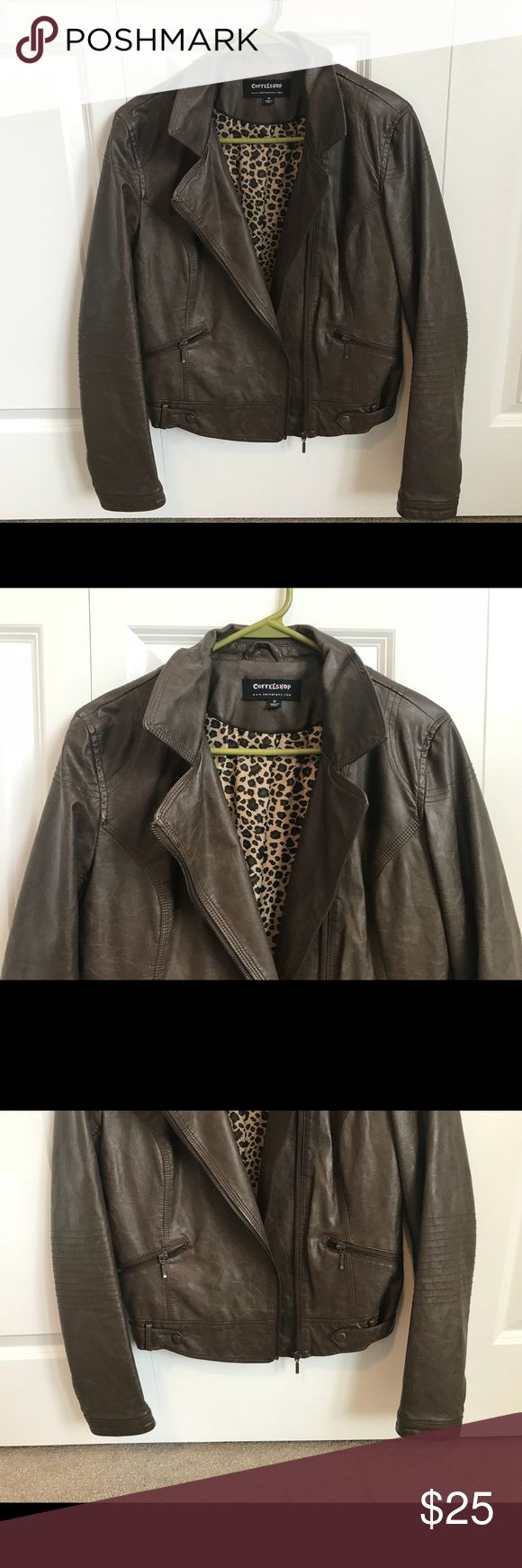 Dark Brown Faux Leather Moto Jacket Brown faux leather