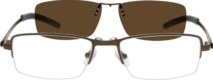 589515 Stainless Steel Half-Rim Frame with Polarized Magnetic Snap-on Sunlens