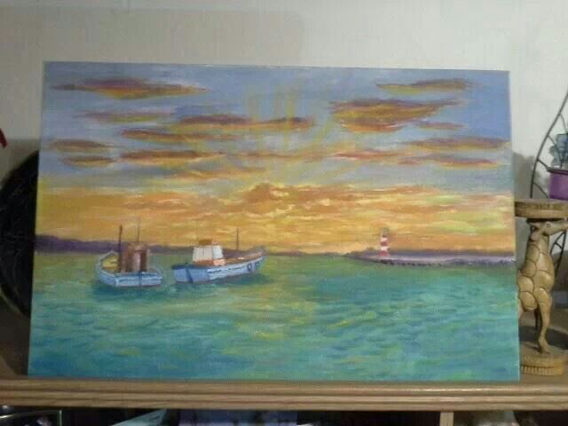 Lighthouse no 5, Struisbaai harbor, 600mm x 400mm, Oil on Stretched Picasso Canvas by Johannes Swanepoel.  Copyright (c) 2013 VDMFK