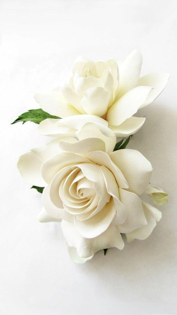 Two Wedding Gardenia hair clips. White Ivory от FlowersofSharon