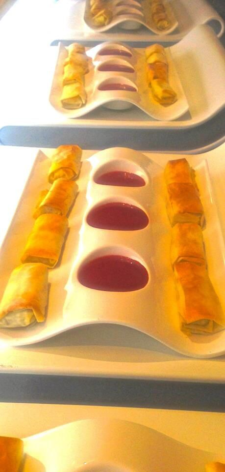 Camembert spring rolls served with berry dipping sauce