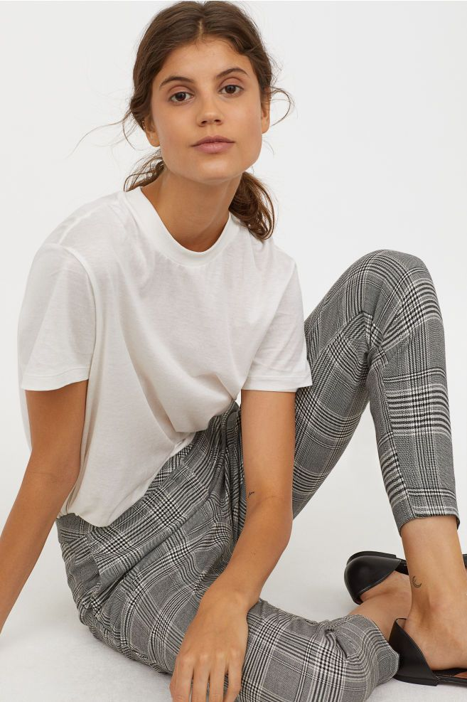 Dress Pants Gray Plaid Ladies H M Us Dress Pants Outfits Plaid Dress Pants Plaid Leggings Outfit