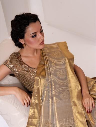 Gold bridal silk saree