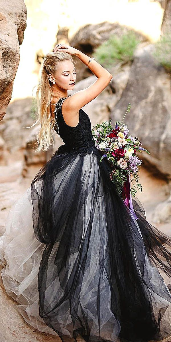 black and white wedding dress with black over white tulle