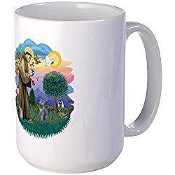 Russian Blue Cat Mug St Francis - Coffee Mug, Large 15 oz. White Coffee Cup