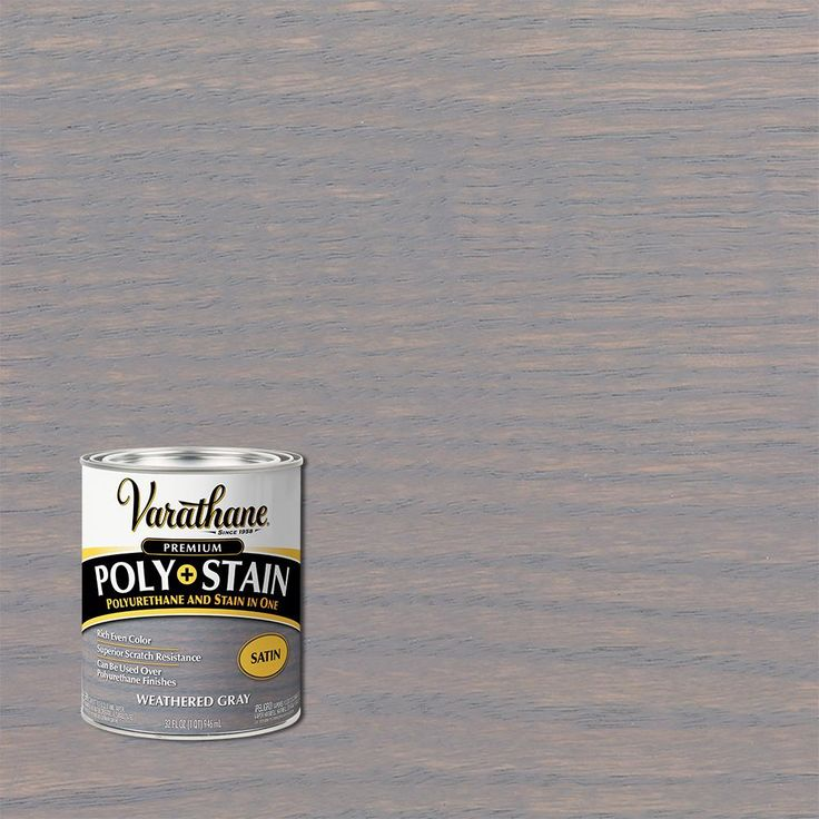 Varathane 1 Qt Weathered Gray Satin Oil Based Interior Wood Stain And Polyurethane 2 Pack In 2020 Interior Wood Stain Wood Interior