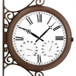 Rustic Outdoor Double-Sided Station Clock