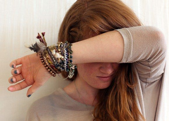 Layered bracelets for fall. http://blog.freepeople.com/2012/10/fall-arm-festival-tips-layering-bracelets/