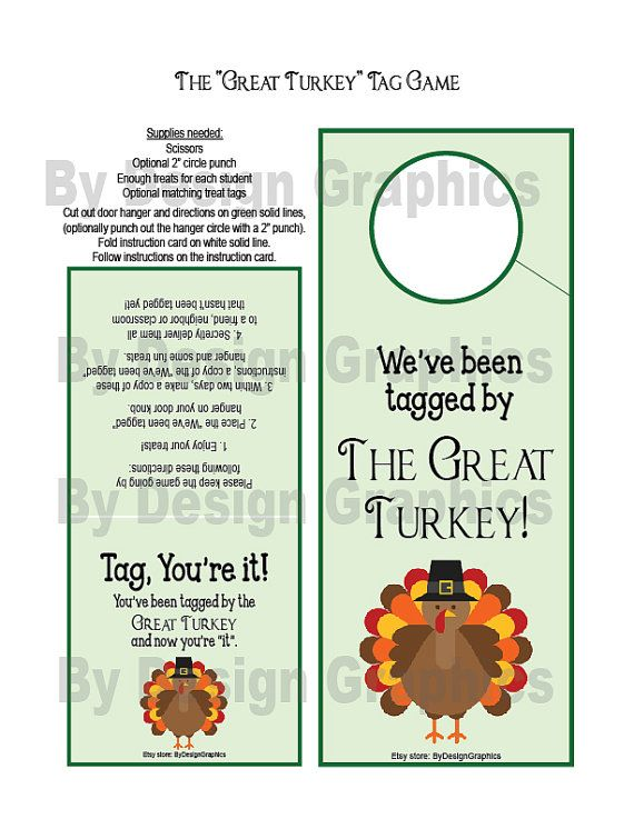 Digital Great Turkey Tag Game Thanksgiving Version Of