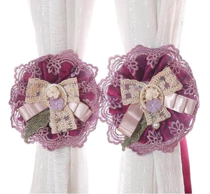 [Purple] 1 Pair Lace Flowers Curtain Tiebacks Buckles Curtain Holdbacks