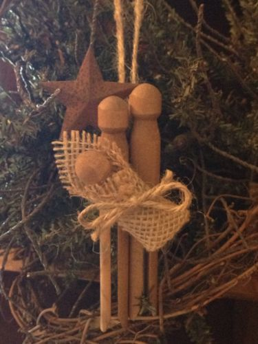 Primitive Christmas Nativity Rusty Tin Barn Star Wood Clothespin Ornament Burlap in Antiques, Primitives | eBay