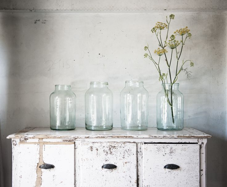Vintage French candy jars make the perfect display an our gorgeous pale pink antique cabinet.  #kostore.co.nz #newzealand #vintage  #vintagejars #frenchcountry #frenchcandyjar #candyjar #floral #flowers