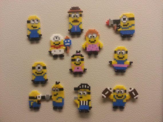 Small Minions Perler Bead Sprites by jinglebells0424