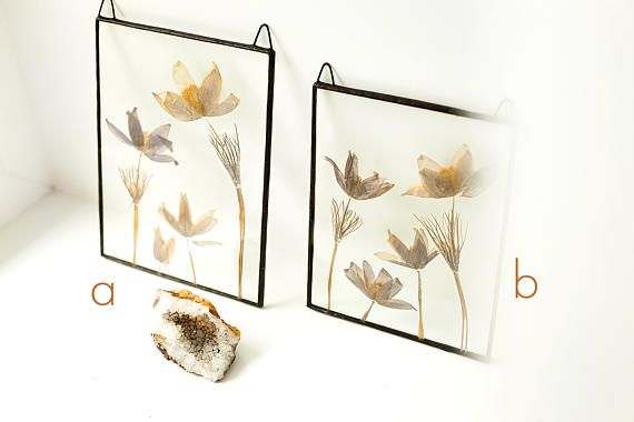 Scandinavian decor real flowers stained glass panel botanical