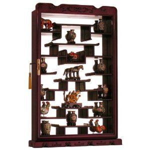 Amazon.com - Rosewood Wall Curio Display Cabinet - Dark Cherry