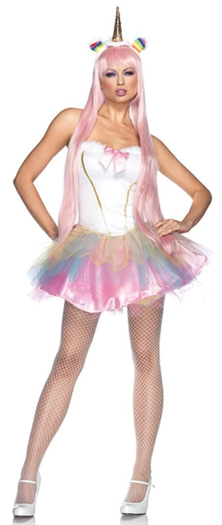 3 PC. Fantasy Unicorn Sexy Adult Costume from Leg Avenue includes sequin trimmed tutu dress, detachable clear straps, and LED light up plush rainbow horn headband.   Shoes and mesh stockings not included.