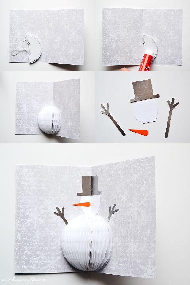 DIY tarjeta navideña muñeco de nieve