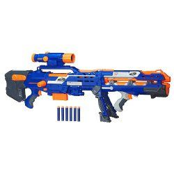 Nerf N-Strike Elite Longshot CS-6 Blaster (Blue Version)  The Nerf N-Strike Longshot CS-6 Blaster is a two-in-one dart blaster that's more than 3′ long and sends darts zooming up to 35′ away. Your child can take blasting skills to the extreme with pinpoint precision using the targeting scope attached to the Nerf Longshot CS-6 Blaster. Two quick-reload clips hold a total of 12
