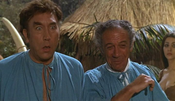 Frankie Howerd and Sidney James in Carry On Up The Jungle. 1970