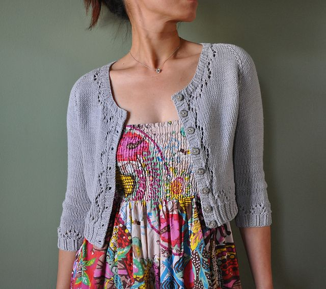 miette cardigan. free pattern. great spring sweater. cropped with 3/4 sleeves.  knit with light cotton blend yarn.