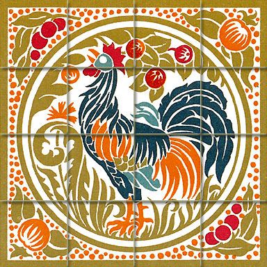 17 x 17 mural ceramic art nouveau rooster backsplash tile for Art nouveau tile mural