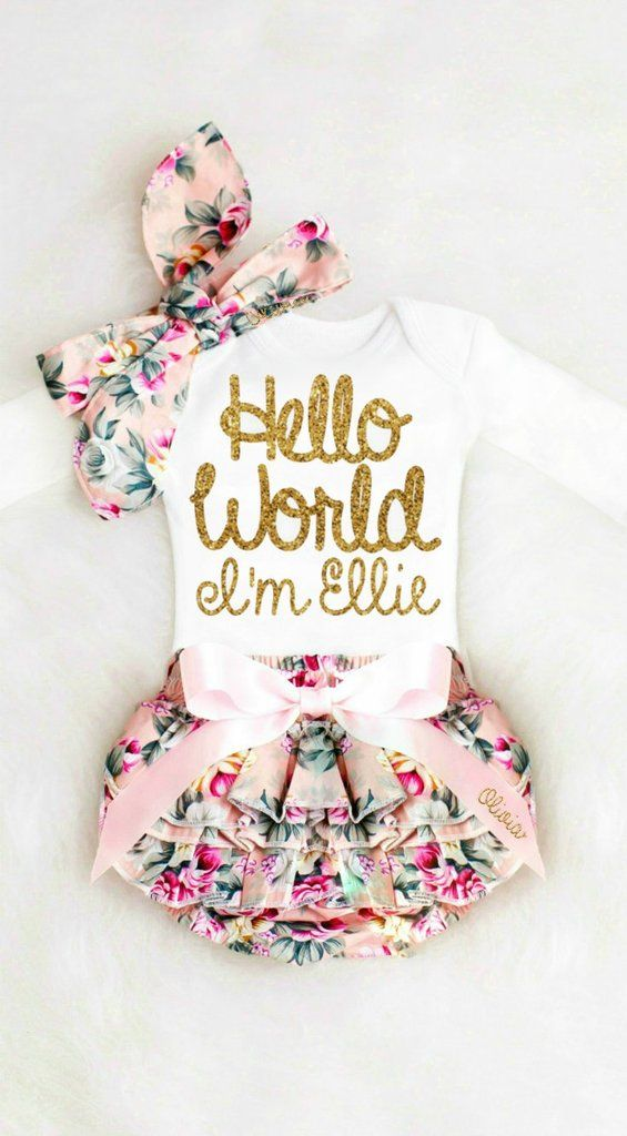 ae1f0f46298 Hello world baby girl outfit | Oh, Baby Baby! Group Board | Baby ...