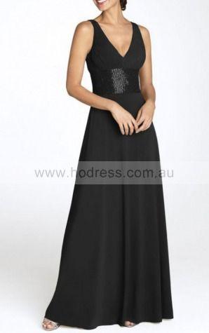A-line Deep V-neck Floor-length Chiffon Natural Formal Dresses gt3014--Hodress