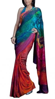 """""""Over the Rainbow"""" - Colourful Printed Satya Paul Saree in georgette satin.    Satya Paul´s contemporary Indian styles of Sarees is unsurpassed within the Indian Fashion world. His Saree lines range from Silk Sarees to Net sarees with rich embroidery. Satya Paul as a designer is one of the most popular Indian designers in Bollywood. Strand of Silk (strandofsilk.com) offers a beautiful collection of Satya Paul Sarees with beautiful coloured prints."""