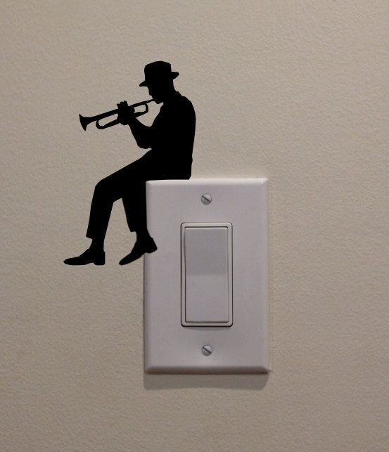 Man Playing Trumpet On Light Switch 4.75x3  by DecalPhanatics