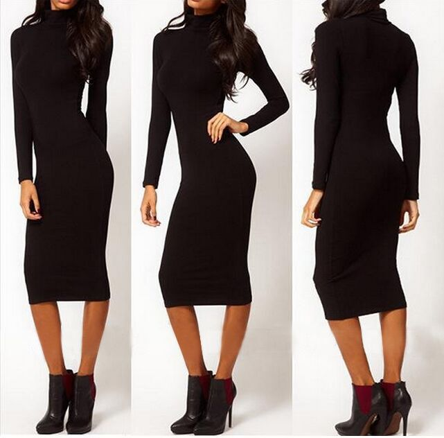 >> Click to Buy << Top Quality Blue Black Color Long Sleeve Knee Length Turtleneck Rayon Bandage Dress Elegant Party Bodycon Dress #Affiliate