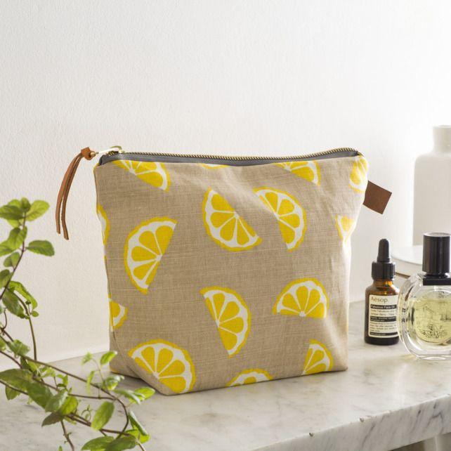 This lemon print wash bag is beautiful, love the zesty yellow against the oatmeal colour. Lemons Wash Bag Cosmetics Toiletries £35.00