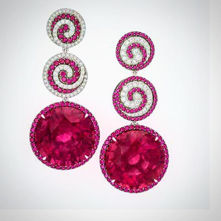 """""""Mesmerize your Valentine with these extraordinary Rubellite Tourmalines 74.77cts with Rubies and Diamonds #neimanmarcus #preciousjewels"""""""
