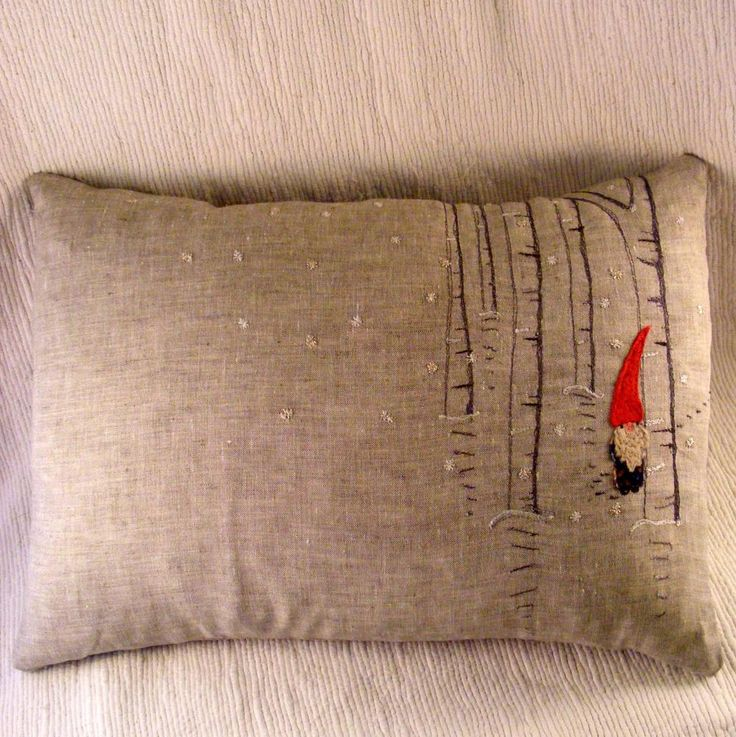 Tomten in birch forest embroidered pillow. Would make a great hoopla.