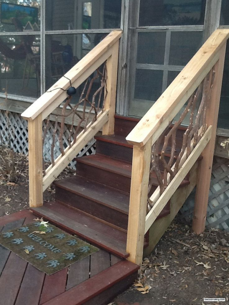 Best 25 deck stair railing ideas on pinterest diy - Exterior wood hand railings for stairs ...