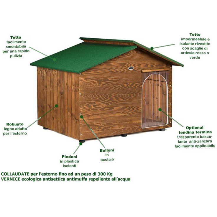 Cuccia per Cane in legno Extra Large con tettino coibentato spessore legno 1 cm collaudo per 300 kg | Original Legno | Stilcasa.Net: Cucce per Cani