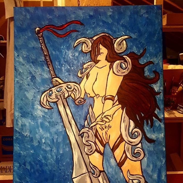 #valkyrie #legends #girl #boobs #erotique #beunette #bigblade #fantasy #painting #japanstyle