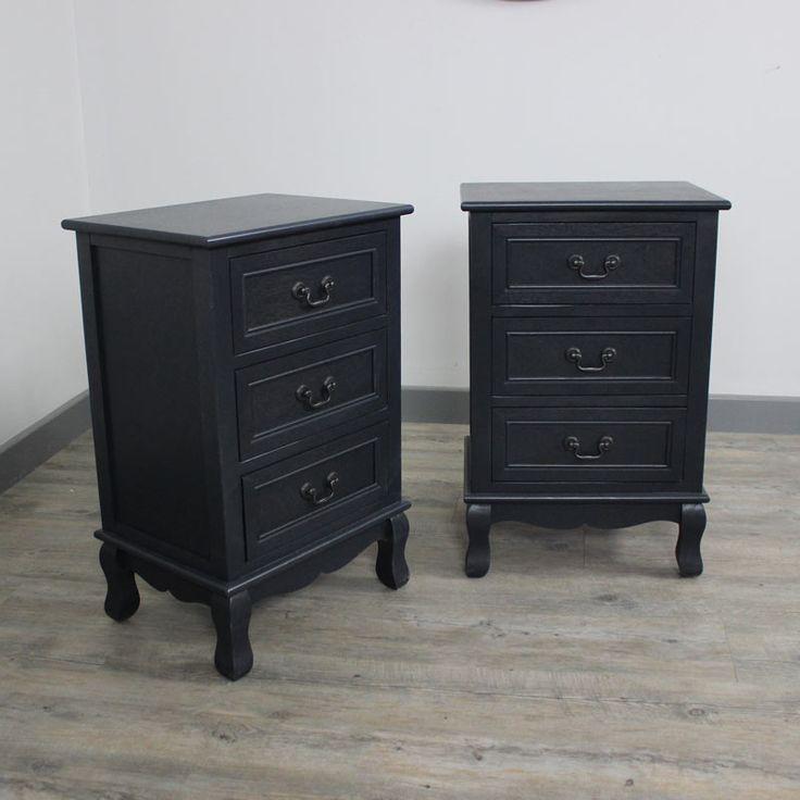 Melody Maison £200 pairAnastasia Range - Furniture Bundle, Pair of Dark Grey Bedside Table