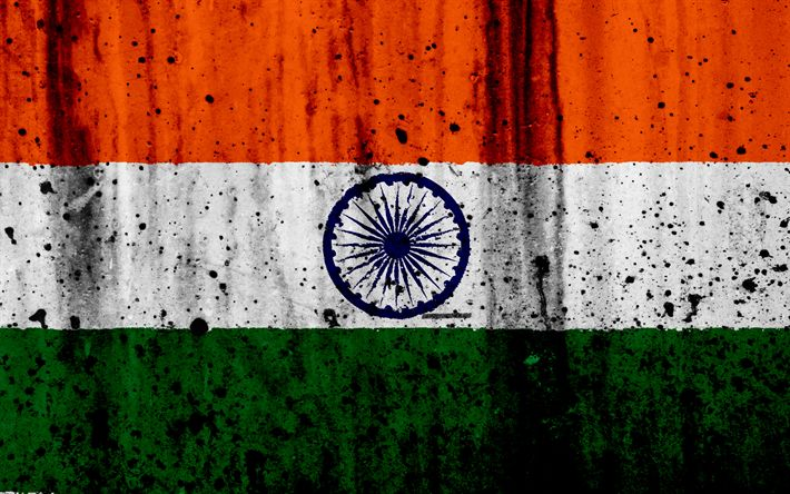 Download wallpapers Indian flag, 4k, grunge, flag of India, Asia, India, national symbols, India national flag