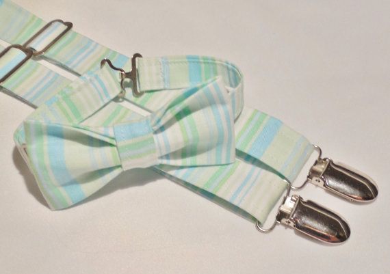 Mint stripe bow tie and suspender set. Bow by CuppyCakeClothing