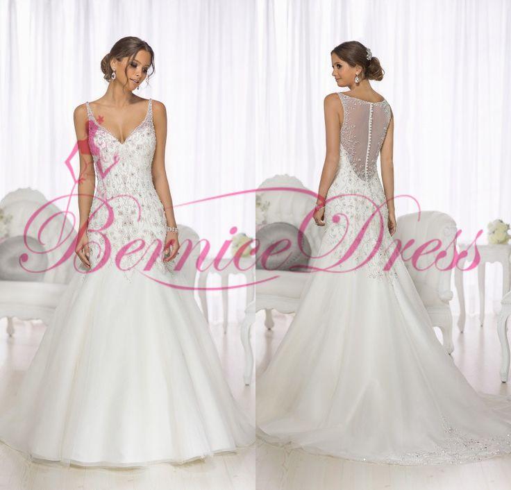 Свадебное платье 2014 труба жоржет суд поезд белый кристаллический v-образным вырезом свадебное платье Novia сексуальная пышное свадебные платья невесты