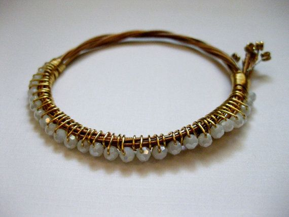 Gold and White Beaded Guitar String Bracelet - Handmade Recycled Jewelry $24