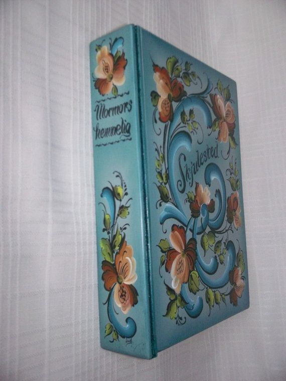 Rosemaled Wooden Book Box with Secret Drawer by JuelRosemals
