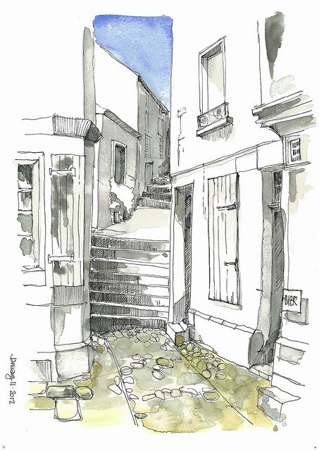 Become an Ambassador of #buildyful.com to represent your #Architecture School in the world! See more details here: http://buff.ly/1xRomMd~~Street scene sketch