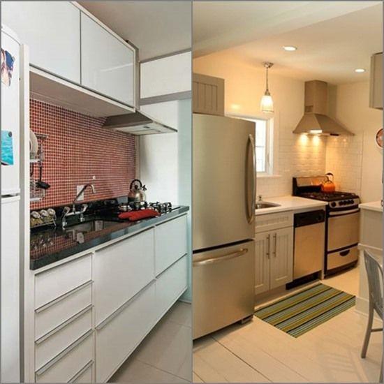 Uma seleção de cozinhas pequenas, mas bem organizadas e distribuídas.Aforma como são colocados os itens da cozinha (fogão, geladeira, pia, fornos, micro o
