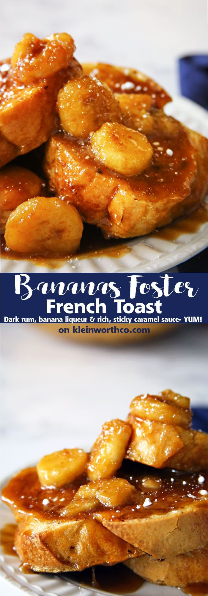 Bananas Foster French Toast is thick & eggy french toast smothered in bananas cooked in a dark rum, banana liqueur & a thick caramel sauce. It's divine! via @KleinworthCo