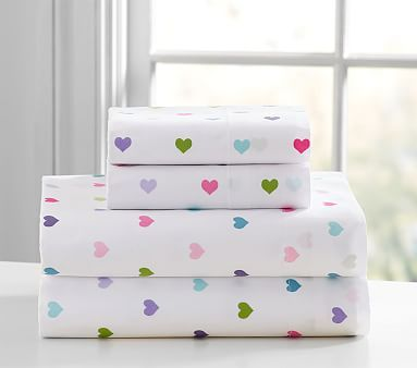 Organic Multicolored Heart Sheet Set #pbkids